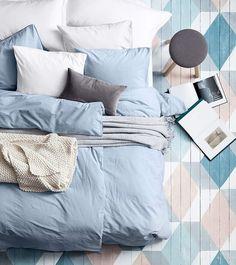 Seven Interior Design Tips For Your Home - My Romodel Blue Bedroom Decor, Bedroom Colors, Bedroom Designs, Painted Floors, Painted Wood, Home Decor Trends, Bedding Sets, Blue Bedding, Design Trends