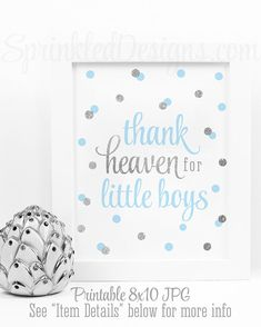 Thank Heaven for Little Boys, Baby Shower Decor, Baby Boy Nursery Wall Art, Religious Nursery, Baptism Decorations Baby Blue Gray Silver - SprinkledDesigns.com