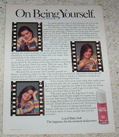 Love's Baby Soft ad with Brooke Shields. I still have my bottle from the Vintage Advertisements, Vintage Ads, Loves Baby Soft, Brooke Shields, Old Ads, Health And Beauty, How To Memorize Things, The Past, Advertising