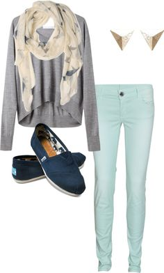 Clothes Casual Outift for • teens • movies • girls • women •. summer • fall • spring • winter • outfit ideas • dates • parties Polyvore :) Catalina Christiano Mint, infinity scarf, toms