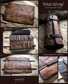 Morgenland Art Unique handmade creations get inspired from the old ages: Old Britain Map Archaeologist Tool Roll Leather Tobacco Pouch, Leather Roll, Leather Gifts, Leather Tooling, Leather Wallet, Leather Bag, Sewing Leather, Leather Craft, Crea Cuir