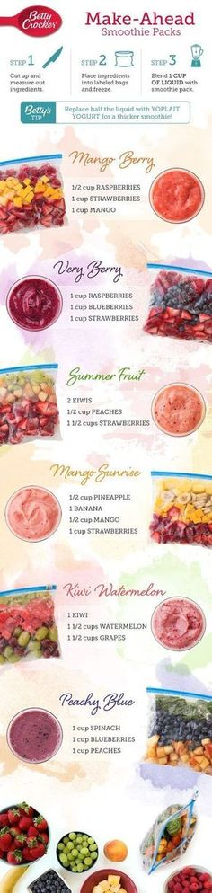 Simplify your morning routine by keeping a freezer full of your favorite smoothie packs on hand so you can wake, shake and be on your way! Source: 6 Make-Ahead Smoothie Packs – Betty Crocker Related Make Ahead Smoothies, Healthy Smoothies, Healthy Drinks, Healthy Snacks, Healthy Eating, Healthy Recipes, Locarb Recipes, Bariatric Recipes, Delicious Recipes