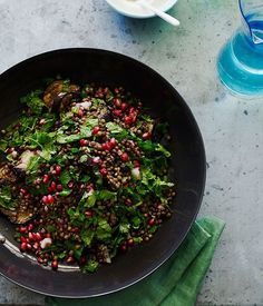Grilled eggplant salad with lentils and sesame yoghurt recipe :: Gourmet Traveller