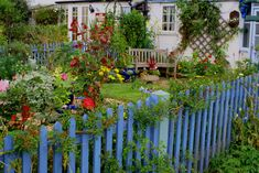SBG loves what happens when you paint the picket fence cobalt with turquoise posts.  Yummy!
