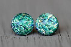 Opal Stud Earrings : Green, Blue, Teal, Yellow Glass Opal Dome Stud Earrings, Sterling Silver Posts, Fake Plugs, Crackle, Artisan Tree