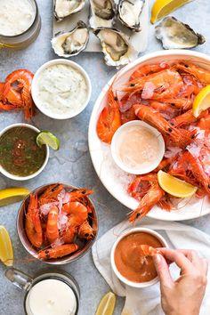 5 great shrimp / prawn dipping sauces: Seafood Cocktail Sauce, Tartare Sauce, Marie Rose / Thousand Island (Pink Sauce), Thai Sauce & our Family Favourite!