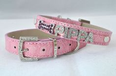 Personalized Pink Bling Dog Collar by WoofBowtique on Etsy