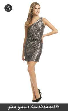 Get this sparkly, one-shoulder Halston Heritage dress for your bachelorette! It's only 75 dollars at Rent the Runway: http://www.renttherunway.com/shop/designers/halstonheritage_dresses/rollcalldress