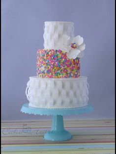 Coloured dots white cake, that touch of  whimsy