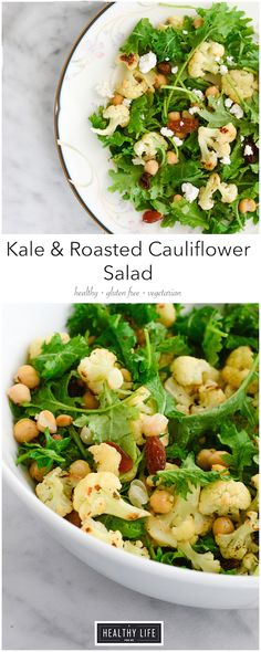 Kale and Roasted Cauliflower Salad {gluten free + vegetarian} - A Healthy Life For Me Lemon Entree Recipes, Kale Recipes, Salad Dressing Recipes, Healthy Salad Recipes, Side Dish Recipes, Roasted Cauliflower Salad, Cauliflower Dishes, Veggie Dishes, Healthy Eating