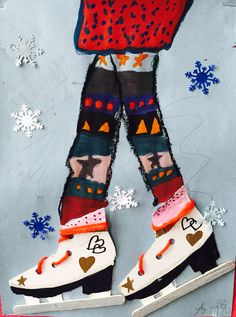 winter skaters... complimentary colors (similar to holiday helpers)