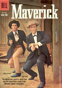 Two Mavericks fer a thin dime Old Comic Books, Vintage Comic Books, Vintage Tv, Comic Book Covers, Vintage Hollywood, Great Tv Shows, Old Tv Shows, Maverick Tv, Western Comics