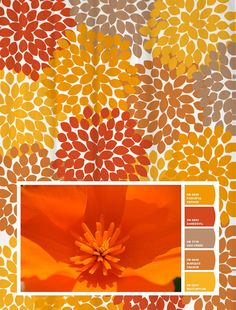 Shower Curtain in Orange and Yellow Poppy Inspired Floral Standard and Long Lengths 70, 74, 78, 84, or 90 in. Let's make one in your colors!