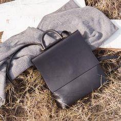 Women's Stylish Black Leather Designer Backpack