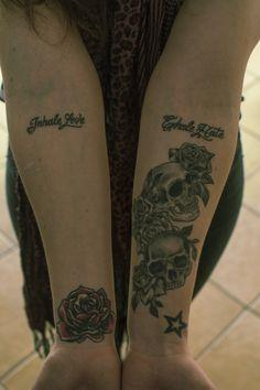 My girlfriend tattoos #girl #tattoo #ink #rose #colour #skull #letters #star #blackandwhite #typography #tattos #roses #skulls