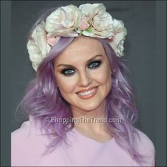 Perrie Edwards purple hair flowers BRIT Awards 2013 ❤ liked on Polyvore