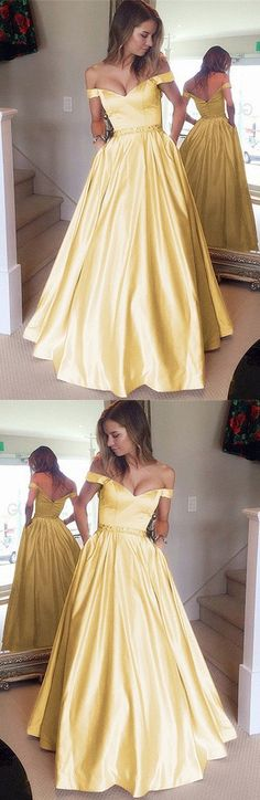 Stunning Yellow Prom Dresses Ball Gowns Satin Evening Dresses V-neck Off The Shoulder