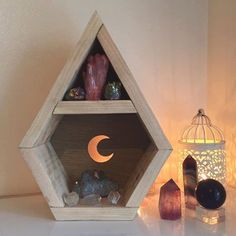 Crescent Moon Diamond shaped crystal shelf