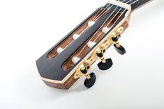 Flame Maple Binding Around Headstock Guitar Neck, Guitar Building, Acoustic Guitar, Classical Guitars, Springer Spaniel, Headers, Crafts, Design, Educational Toys