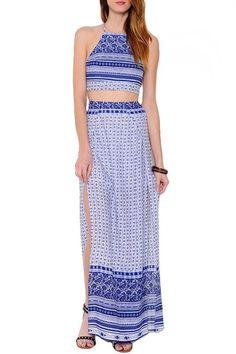 Mykonos Crop Top Maxi Skirt Two Piece Set - Blue + White RESTOCKED!