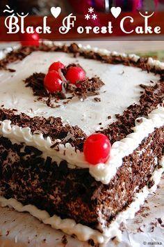 Black Forest Cake to India Eggless Desserts, Eggless Recipes, Eggless Baking, Blueberry Desserts, Easy Desserts, Delicious Desserts, Dairy Recipes, Cooking Recipes, Vegan Desserts