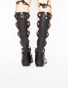 Black Knee High Gladiator Sandals - Lace Up Strappy Sandals