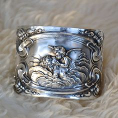 RESERVED Sterling Silver Cuff Bracelet, Unger Brothers Love's Dream Art Nouveau Sterling Silver Cuff Bracelet, Spoon Jewelry Style