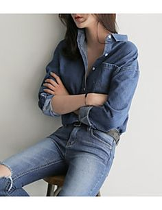 Women's Casual/Daily Trendy Shirt,Solid Shirt Collar Long Sleeves Others