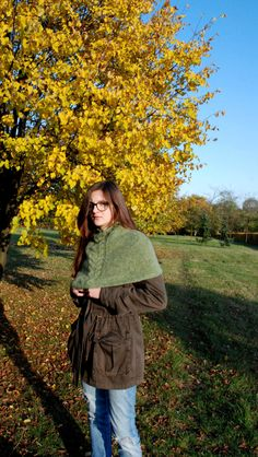 Soft Shoulder Cowl, Hand Knit Cowl, Green Handknitted Cowl, Cowl Scarf, Cowl Neck, Neckwarmer, Knitted Neckwarmer, Circle Scarf by aboutCRAFTS on Etsy