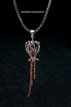 """""""Bring me a red flower"""" Silver pendant and chain handmade by vzasade, via Flickr"""