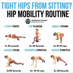 Ive prepared a very effective hip mobility routine to prepare your body for periods of sitting at your home office this Ab Workout At Home, Hip Workout, Toning Workouts, Stretching Exercises, At Home Workouts, Body Exercises, Workout Ideas, Hip Opening Yoga, Hip Mobility