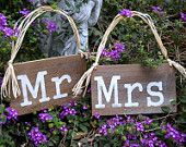 MR / MRS 9 x 5 Chair Signs RUSTIC Reclaimed Wood / Visit my store for Over 200 Handpainted Signs