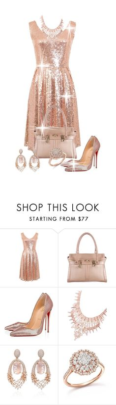 """Blushing Success"" by shamrockclover ❤ liked on Polyvore featuring MaxMara, Christian Louboutin, Kendra Scott, Hueb, Bloomingdale's, blush and polyvoreeditorial"