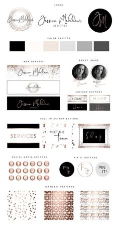 Amp up your branding with this Rose Gold Web Branding Kit for Photoshop. These Photoshop Templates are the ultimate DIY logo and web branding solution! Web Banner Design, Web Design, Logo Design, Identity Design, Brand Identity, Brochure Design, Stationery Design, Layout Design, Social Media Buttons