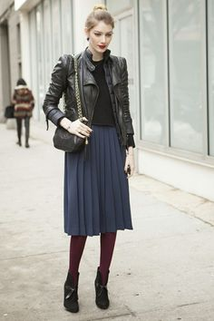 Pleated skirt. #streetstyle #pleats #blue #burgundy