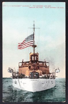WWI US Navy Ship Battleship USS ALABAMA  BB-8 Vintage Ship Postcard