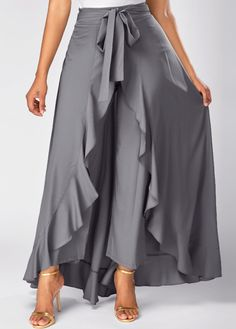 Faldas Mujer Moda Grey Side Zipper Tie Front Overlay Pants Ruffle Skirt Bow Long Skirt Jupe Femme Color Black Size S Look Fashion, Fashion Pants, Hijab Fashion, Fashion Outfits, Womens Fashion, Fashion Tips, African Fashion Dresses, African Dress, Rock Dress