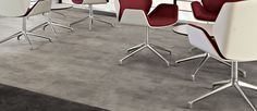 Available in a large rectangular shape and modern look of sealed concrete, Colorado LooseLay floor tiles are ideal for installation over most existing hard floors with little or no need for adhesive, meaning reduced installation cost.
