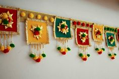 in Hindu culture a Bandawar is decorative door hanging Diwali Decoration Items, Thali Decoration Ideas, Diwali Decorations At Home, Festival Decorations, Handmade Decorations, Diwali Diy, Diwali Craft, Diy Crafts Hacks, Diy And Crafts