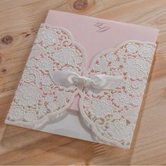 50pcs/pack Laser Cut Wedding Invitations Cards with Ribbon Elegant Free Printing Birthday Invitation Card Party Supplies