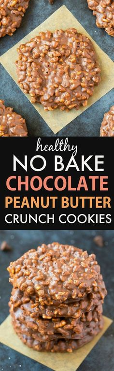 No Bake Chocolate Peanut Butter Crunch Cookies (V, GF, DF)- Easy, one-bowl, five-ingredient and delicious, this healthy crunchy and crispy cookie combines cereal, chocolate and peanut butter in one! vegan, gluten free, sugar free recipe- thebigmansworld.com