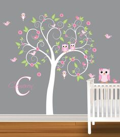 Girls Nursery Tree Decal Vinyl Wall Stickers Flowers Owls Swirl Tree Butterflies. $99.99, via Etsy.
