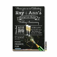 50th Anniversary Invitation, Golden Wedding, Chalkboard Invitation, Brunch and Bubbly, Cocktail Party, Champagne, Printable OR Printed WI4 by 800Canvas on Etsy