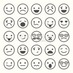 Vector Art : Set of smiley icons: different emotions