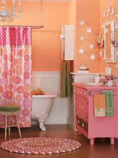 Sherbet Orange + Bubble Gum Pink ~ Such a fun bathroom for a little girl!