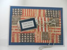 Military Thank You or Veterans Day Handmade Greeting Card gift  with Thank You dog tag