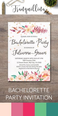 Bachelorette Invitation Printable, Bachelorette Party Invitation, Floral Bachelorette Invitation, Printable Bachelorette Invite, Watercolor Peonies and confetti Invitation. DIY wedding ideas. For more boho invitations follow the link: tranquillina.etsy.com