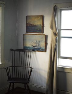 nautical paintings framed with rope (Ken Fulk )