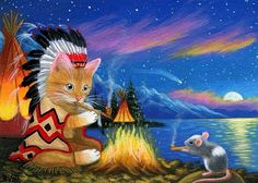 Kitten cat chief mouse campfire teepee moon lake original aceo painting art #Miniature