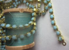 Robins Egg  Turquoise Rhinestone Chain by WhoKnowsWhat on Etsy, $9.00